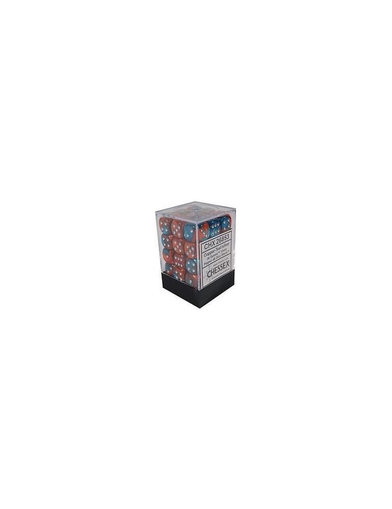 Caja de 36 dados Chessex de 6 caras 12 mm Gémini (Cobre/Turquesa/Plata)