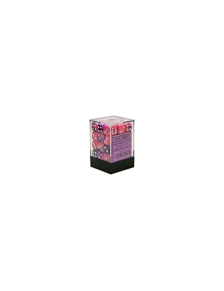 Caja de 36 dados Chessex de 6 caras 12 mm Gémini (Rosa/Púrpura/Blanco)