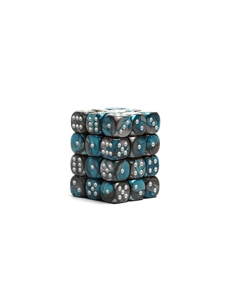 Caja de 36 dados Chessex de 6 caras 12 mm Gémini (Acero/Turquesa/Blanco)