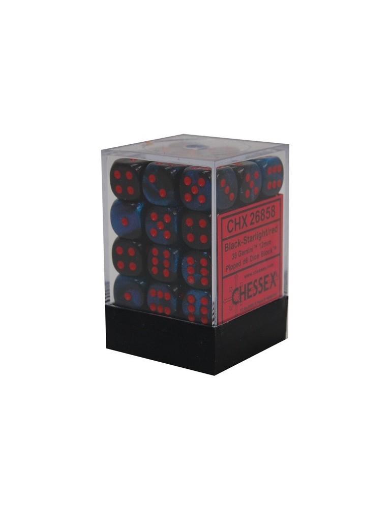 Caja de 36 dados Chessex de 6 caras 12 mm Gémini (Black Starlight/Rojo)