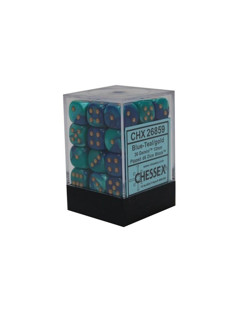 Caja de 36 dados Chessex de 6 caras 12 mm Gémini (Azul/Turquesa/Oro)