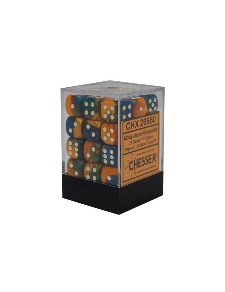 Caja de 36 dados Chessex de 6 caras 12 mm Gémini (Amarillo mascarada/Blanco)