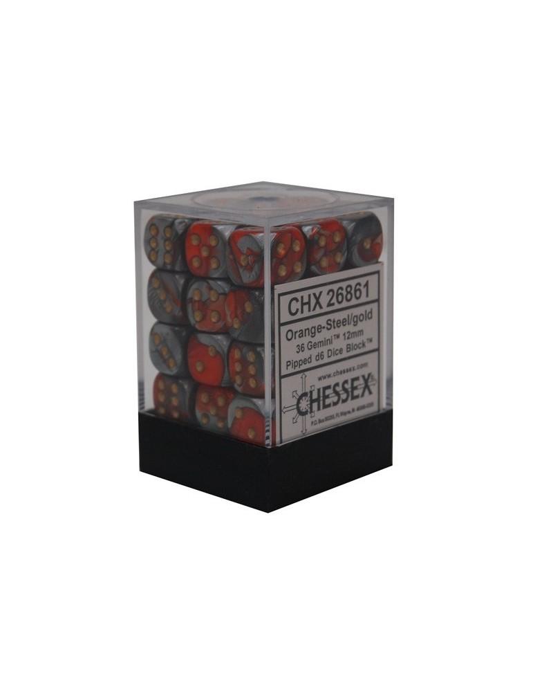 Caja de 36 dados Chessex de 6 caras 12 mm Gémini (Naranja/Acero/Oro)