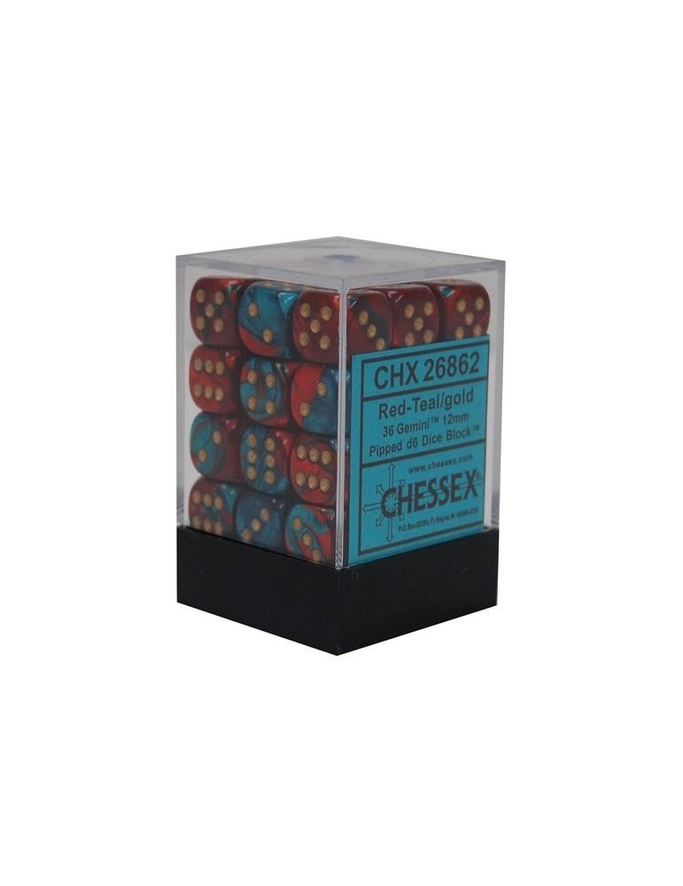 Caja de 36 dados Chessex de 6 caras 12 mm Gémini (Rojo/Turquesa/Oro)