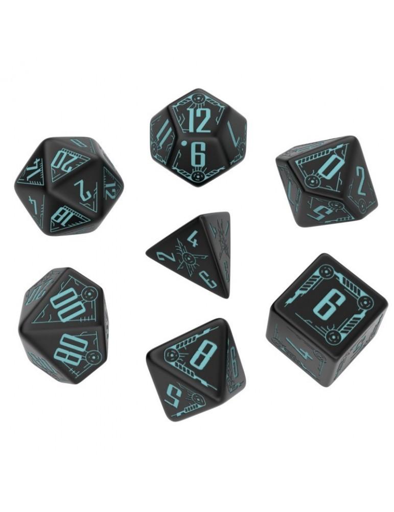 Set de dados Galactic Negro y Azul (7 unidades)