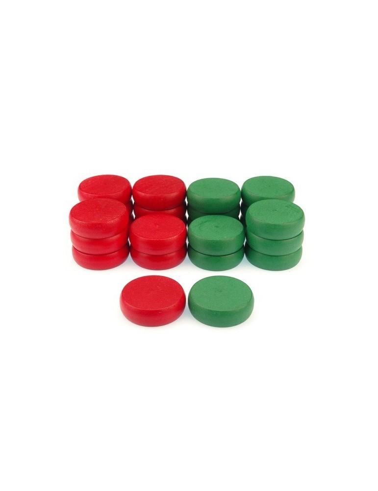 Piezas para Crokinole (Rojas y verdes)