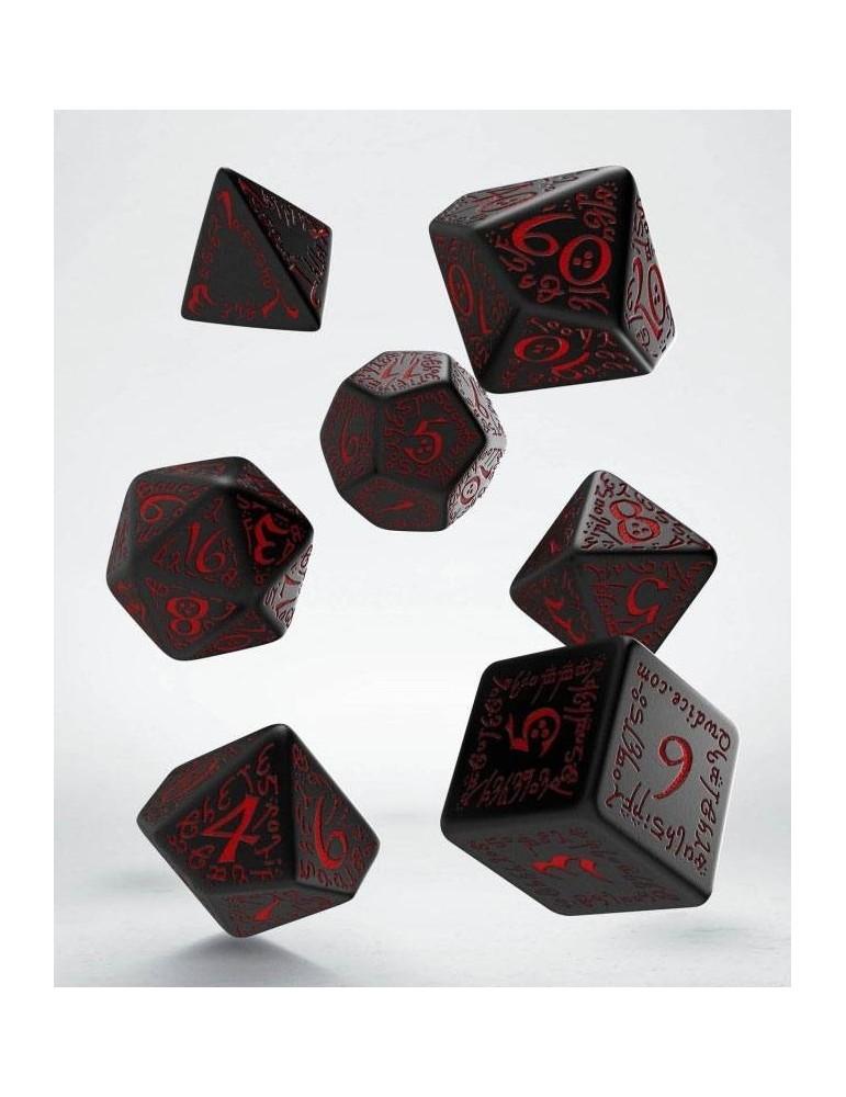 Set de dados Elven negro y rojo (7)