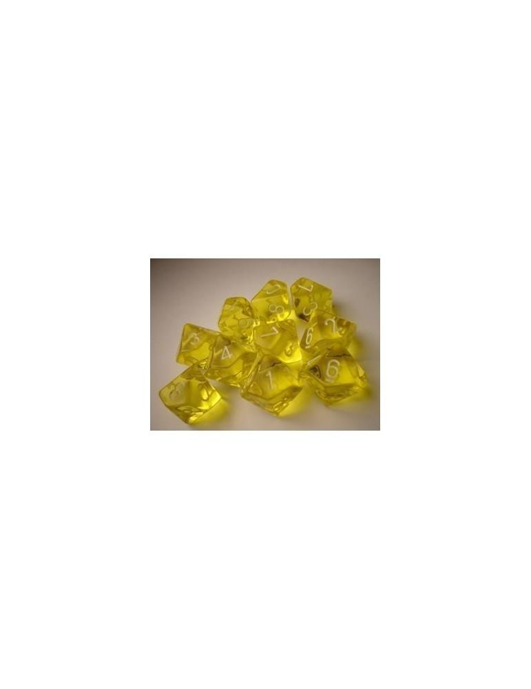 Dados de 10 caras Translucent Chessex. Amarillo / Blanco D10 - Bloque de 10
