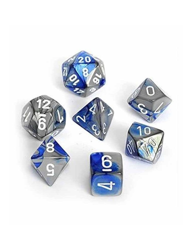 Set de 7 dados de varias caras Gemini Polyhedral Chessex. Azul / Acero / Blanco