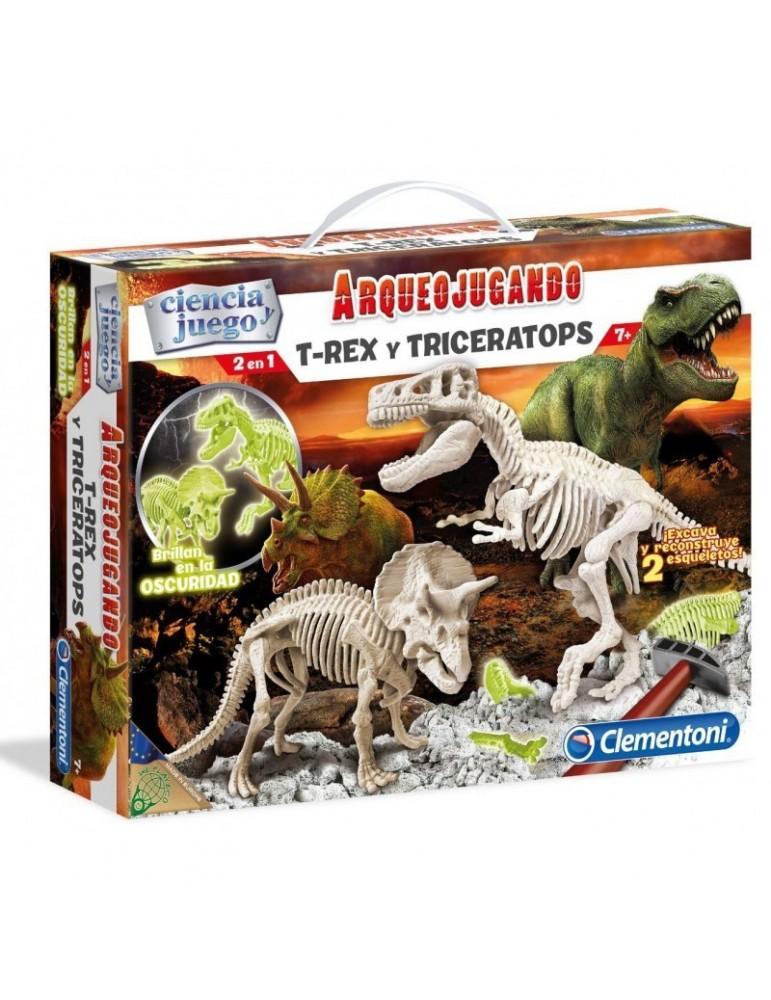 Arqueojugando 2 En 1 T-Rex Y Triceratops Fluorescente
