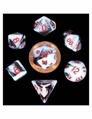 Set de dados 10mm Mini Marble w/ Red Numbers (7)