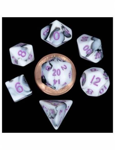Set de dados 10mm Mini Marble w/ Purple Numbers (7)