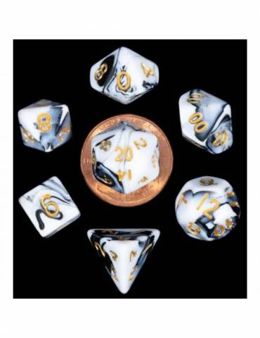 Set de dados 10mm Mini Marble w/ Gold Numbers (7)