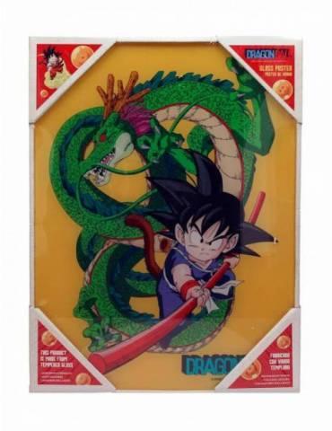 Poster de Vidrio Dragon Ball: Goku Niño y Shenron 30 X 40