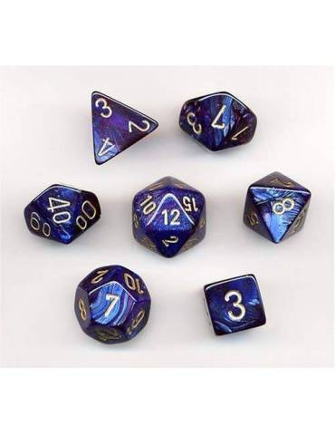 Set de dados Chessex Royal Blue with Gold