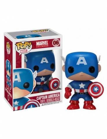 Figura POP Marvel Comics Cabezón Captain America 10 cm