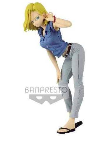 Figura Dragon Ball Z Glitter & Glamours: Android 18 II Ver. A Camisa Azul 23 cm