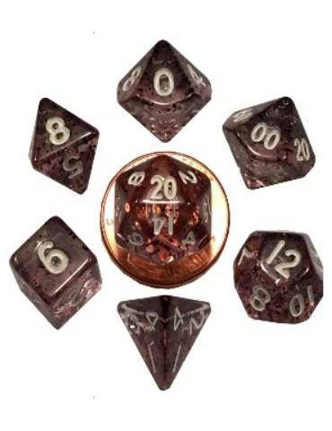 Set de Dados Mini Polyhedral Ethereal Black with White Numbers