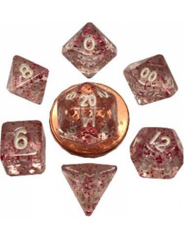 Set de Dados Mini Polyhedral Ethereal Light Purple with White Numbers