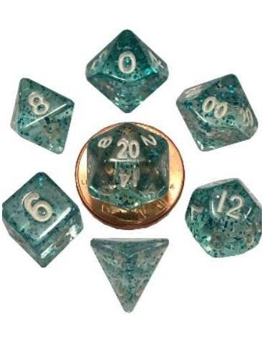 Set de Dados Mini Polyhedral Ethereal Light Blue with White Numbers
