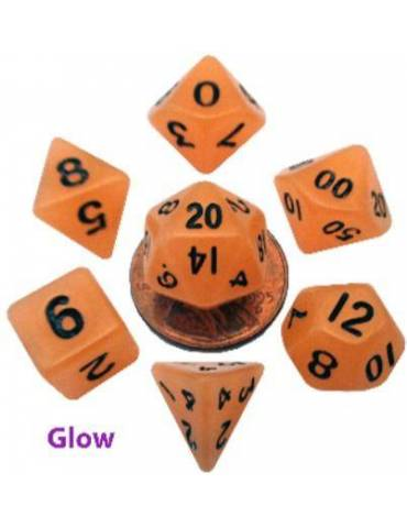 Set de Dados Mini Polyhedral Glow Orange with Black Numbers