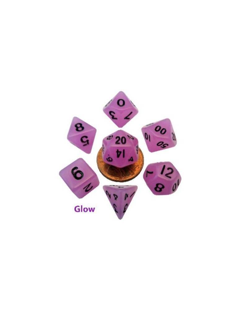 Set de Dados Mini Polyhedral Glow Purple with Black Numbers