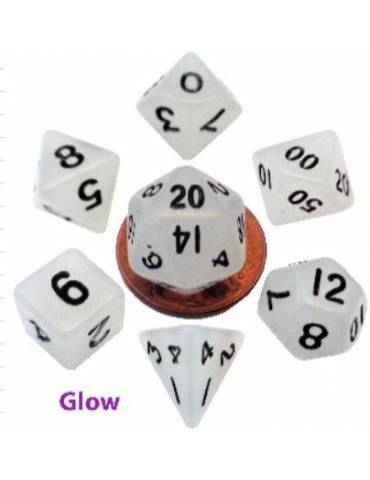 Set de Dados Mini Polyhedral Glow Clear with Black Numbers