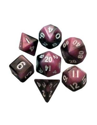 Set de Dados Mini Polyhedral Pink Black with White Numbers