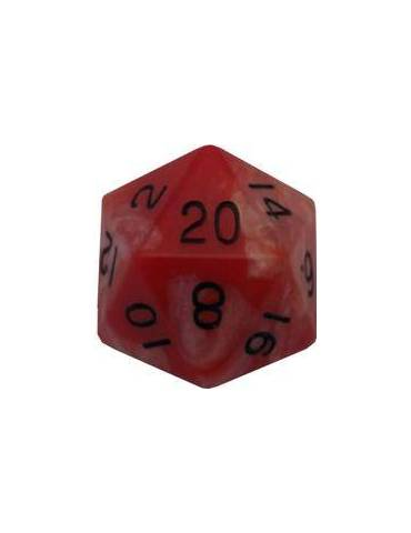 Dado de resina de 35 mm MegaAcrylic D20 - Combo Attack Red White with Black Numbers