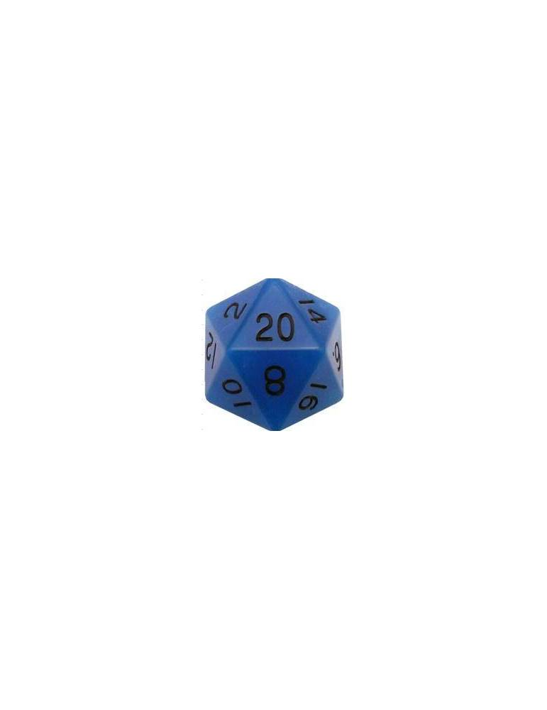 Dado de resina de 35 mm MegaAcrylic D20 - Glow Blue with Black Numbers