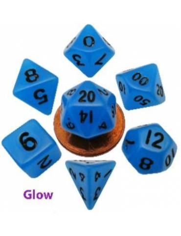 Set de dados Mini Glow Blue with Black Numbers