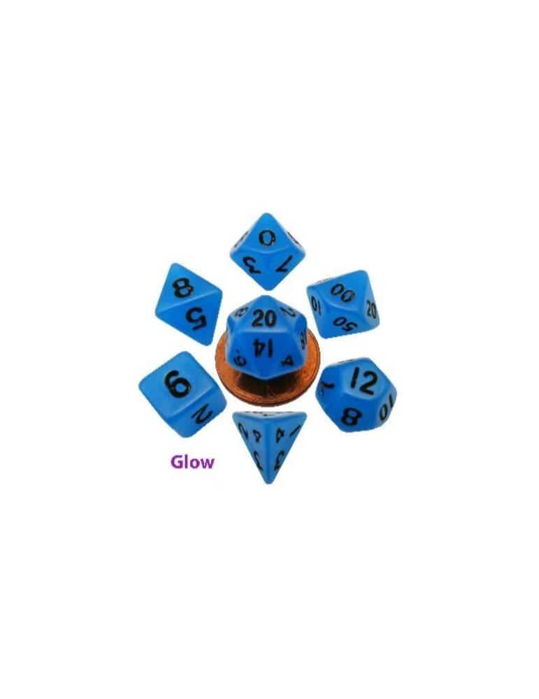Set de dados Mini Glow Blue with Black Numbers