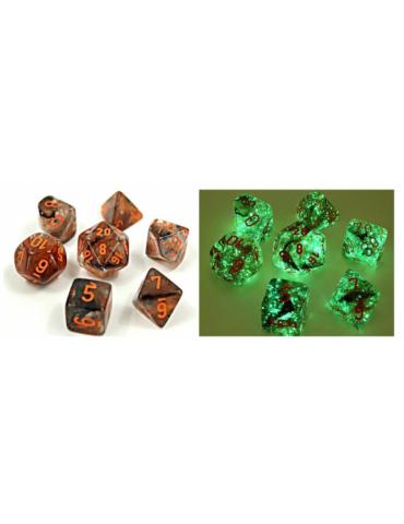 Set de dados Chessex Lab Dice Nebula Polyhedral Copper Matrix/Orange Luminary (7 unidades)