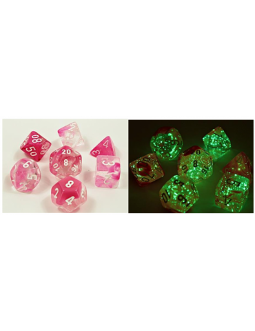 Set de dados Chessex Lab Dice Gemini Polyhedral Clear-Pink/White Luminary (7 unidades)