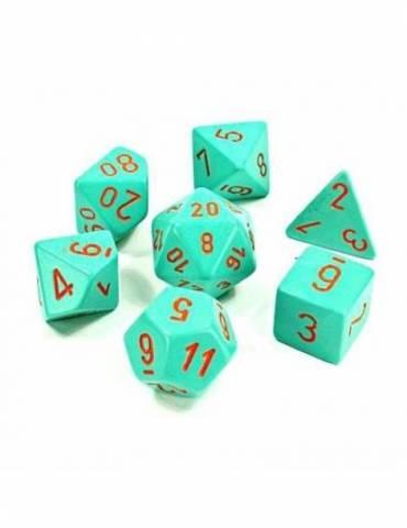 Set de dados Chessex Lab Dice Polyhedral Turquoise/orange (7 unidades)