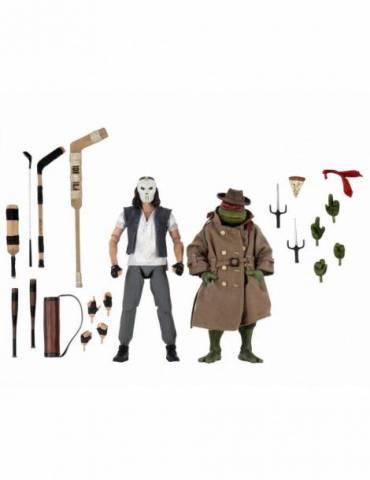 Pack de 2 Figuras Las Tortugas Ninja Scale Action: Casey Jones & Raphael In Disguise 18 cm