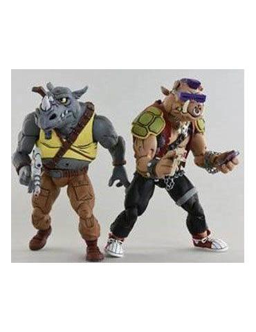 Pack de 2 Figuras Tortugas Ninja: Rocksteady & Bebop 18 cm