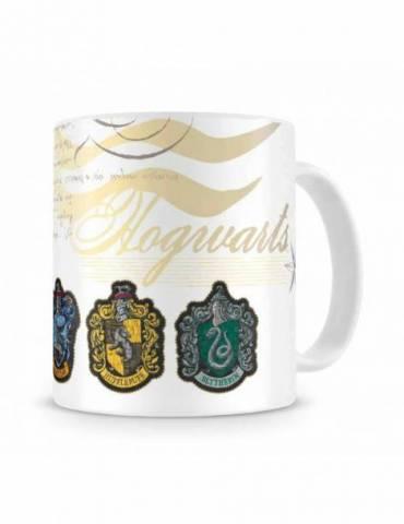 Taza Blanca Cerámica Harry Potter: Escudos Casas Hogwarts