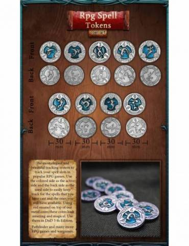 RPG Spell Tokens Blue (22 Coins)