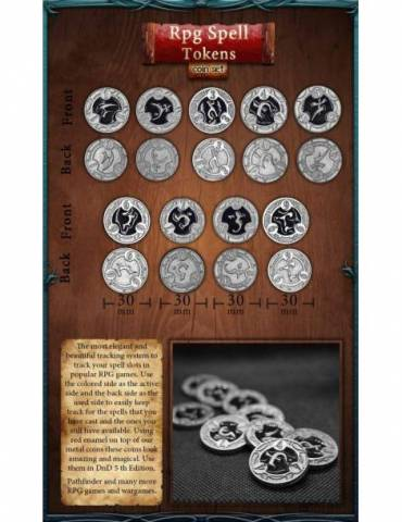 RPG Spell Tokens Black (22 Coins)