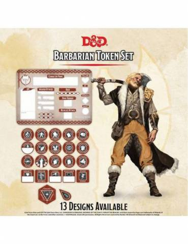 Set de Tokens Dungeons & Dragons: Barbarian (Player Board & 22 tokens)