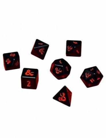 Set de dados Ultra Pro Dungeons & Dragons: 7 RPG Metal Black/Red