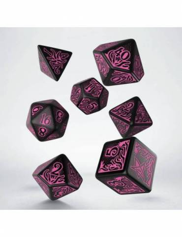 Set de dados Q-Workshop Call of Cthulhu 7th Edition: Black & Magenta