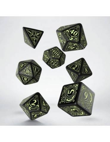 Set de dados Q-Workshop Steampunk: Black & glow-in-the-dark (7)