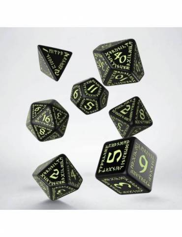 Set de dados Q-Workshop Runic: Black & glow-in-the-dark (7)