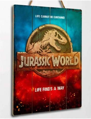 Cartel Madera Woodart 3D Print: Jurassic World Logo 30 X 40 cm