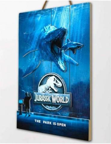 Cartel Madera Woodart 3D Print: Jurassic World Mossasaurus 30 X 40 cm