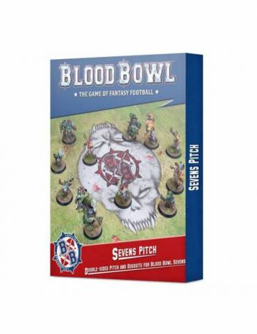 Campo de Blood Bowl Siete: Campo impreso a doble cara y banquillos para Blood Bowl Siete