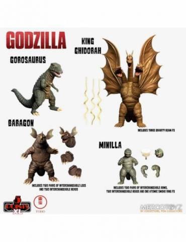 Set de 4 Figuras Godzilla Destroy all Monsters 5 Points Xl Round 2: Godzilla 1968