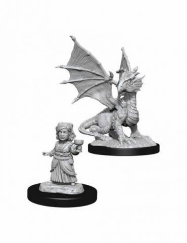 D&D Nolzur's Marvelous Miniatures: Silver Wyrmling & Halfling
